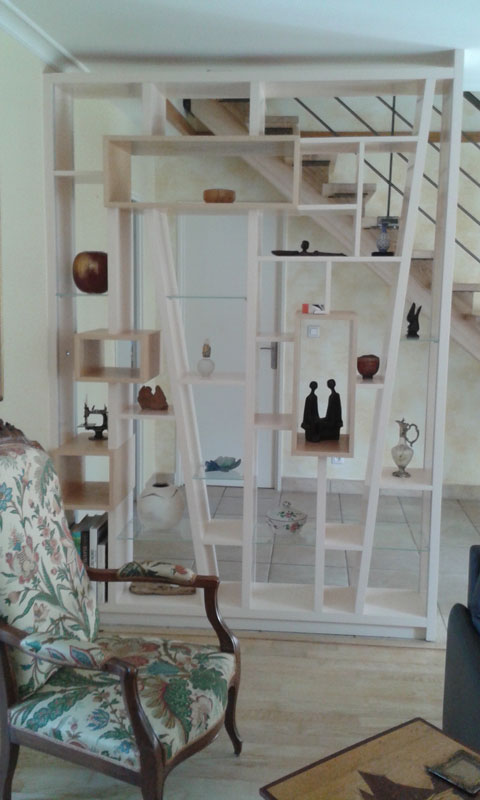 biblioth que et escalier assortis r alis s en fr ne massif et laque avec clairage led. Black Bedroom Furniture Sets. Home Design Ideas