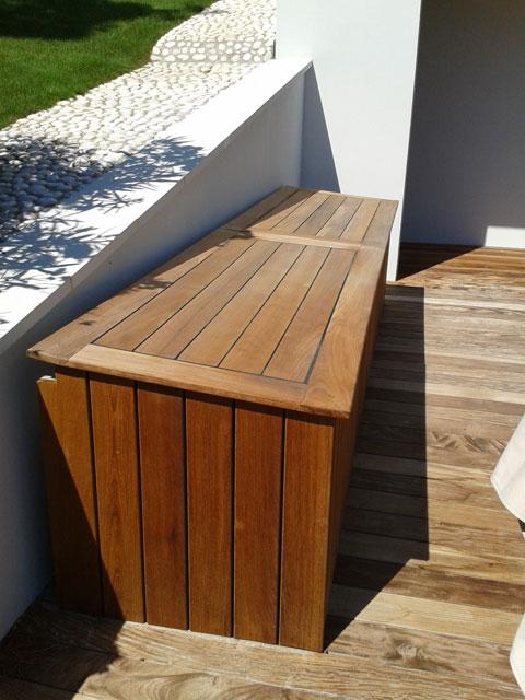 Mobilier ext rieur coffres et meubles de rangement en Meuble en bois exotique