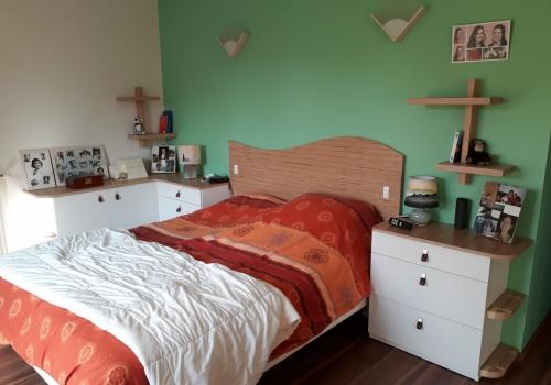Chambre-Mélaminé blanc et bois…